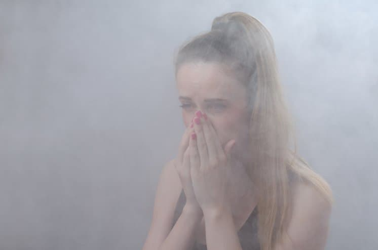 girl in carbon monoxide smoke